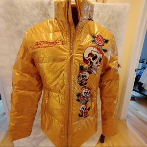 Ed Hardy Y2K Gold Metallic Puffer Jacket
